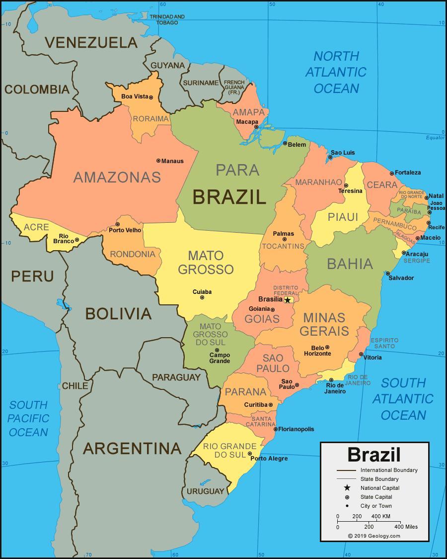 Amerika Gradovi Karta.Karta Brazilu Sa Gradovima I Drzavama Kartica Brazilu Sa Gradovima I